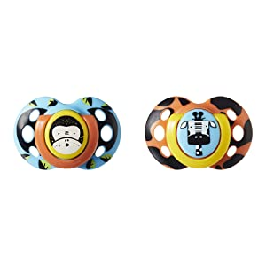 Tommee Tippee Closer to Nature Fun Style Orthodontic Toddler Soothie Pacifier, 18-36 Months, 2 Count (Colors May Vary)