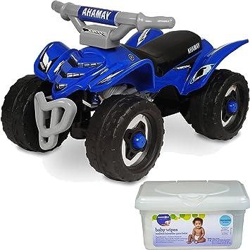 yamaha atv. yamaha atv kids ride on quad push toys for toddler boys, blue with baby wipes atv t