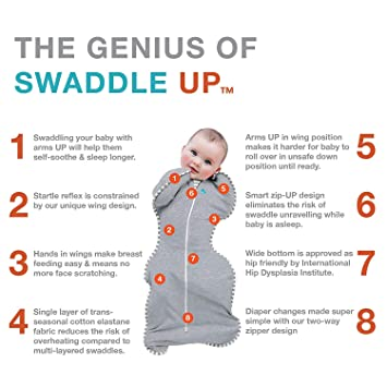 d4b98f6ba98 Amazon.com: Love To Dream Swaddle UP Warm, Gray, Medium, 13-18.5 lbs.,  Dramatically better sleep, Allow baby to sleep in their preferred arms up  position ...
