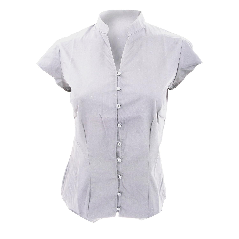 KUSTOM KIT Ladies Continental Blouse Mandarin Collar Cap Sleeve