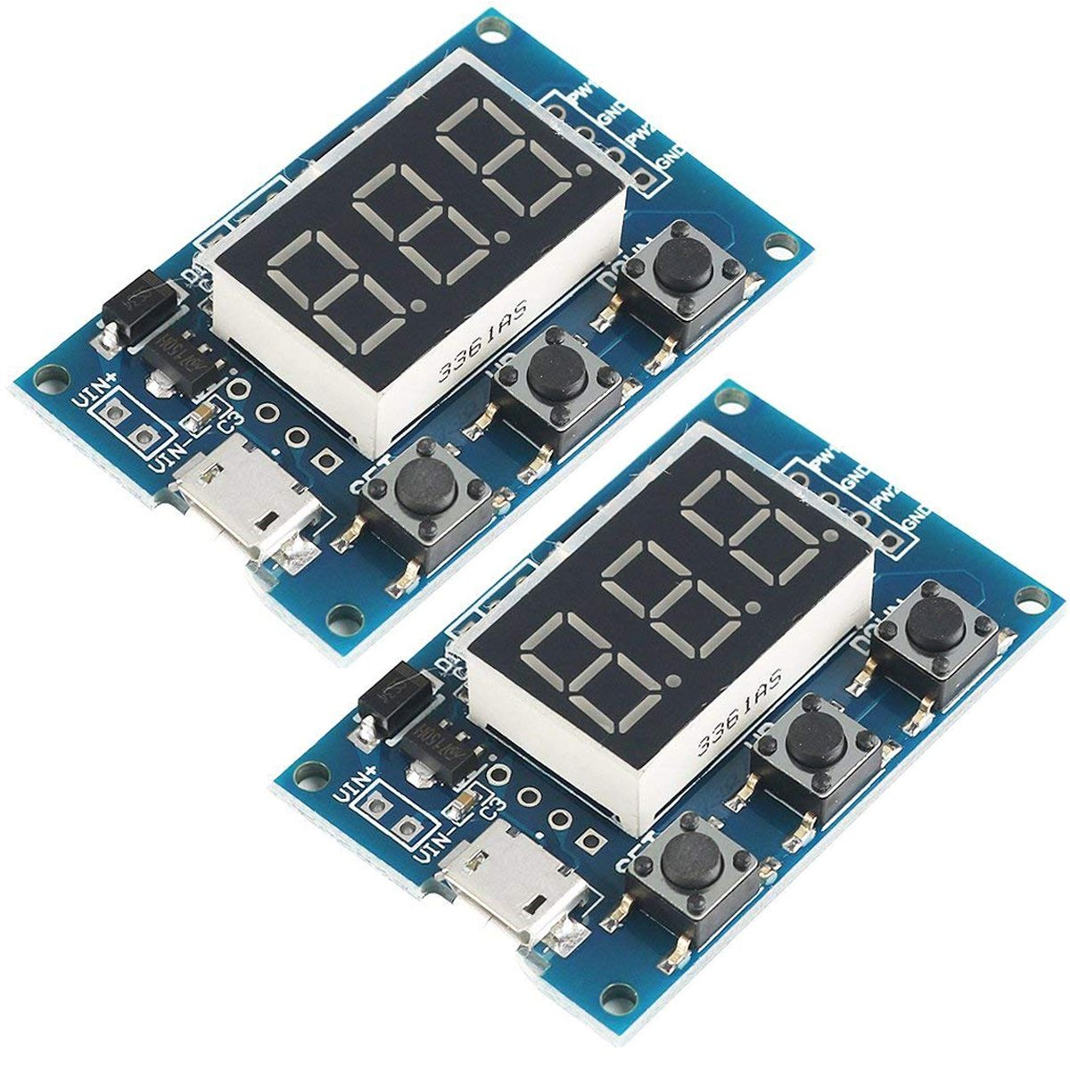 MakerFocus 2pcs Digital 2 Channal PWM Square Wave Pulse Signal Generator Adjustable Frequency Duty Cycle 100% 1Hz-150KHz for Stepper Motor Driver