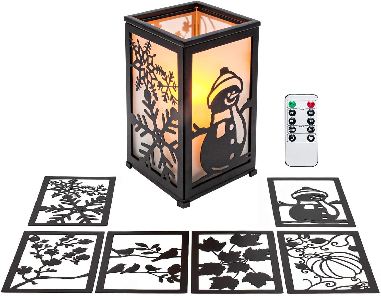 "GiveU Decorative Led Candle Lantern with Timer Rustic Candle Lantern with Twelve Magnetic Seasonal Themed Panels ,5 x 5 x 8.5"" Black"