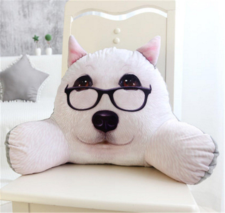 Skyseen 3D Dog Shaped Lumbar Support Backrest Pillow Waist Seat Back Cushion in Home Office School Car,G