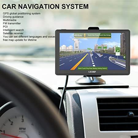 Sat Nav For Cars LESHP Inch GPS Navigation With UK Amazonco - Gps with us and europe maps