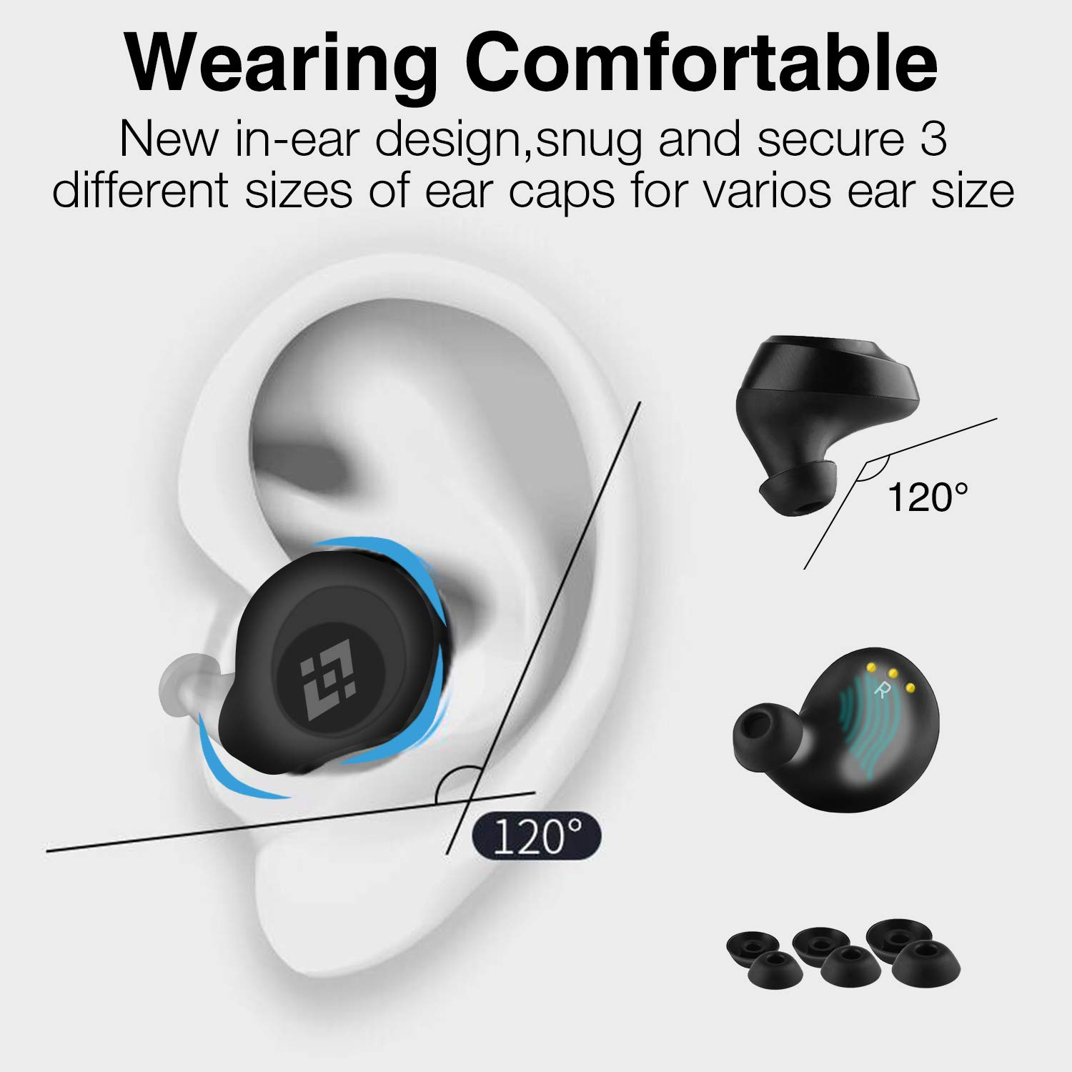 Wireless Earbuds 【Upgraded Graphene 3D Stereo Sound】 Bluetooth 5.0 with 28Hr Play Time Noise Cancelling HonShoop Lightweight Bluetooth Headphones Built-in Mic (Black) (Matte Black) by HonShoop (Image #7)