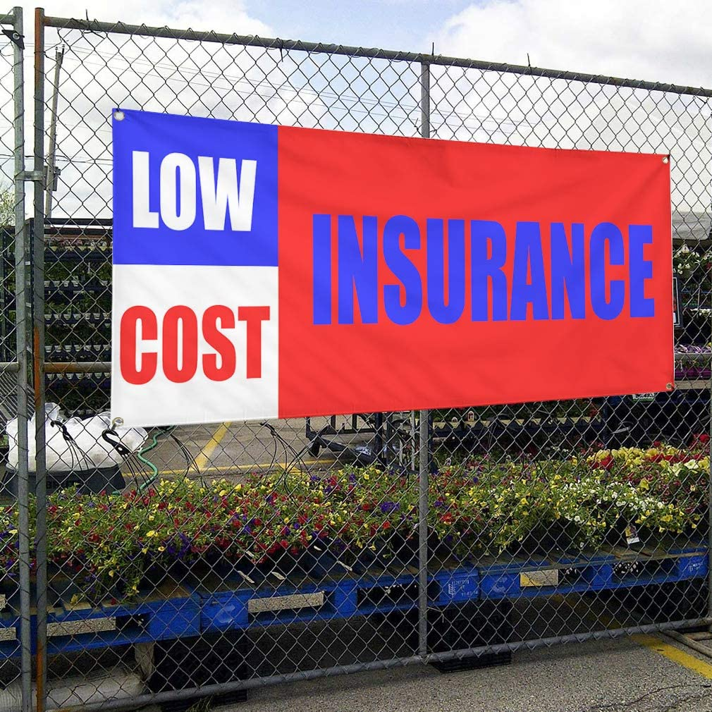 One Banner 8 Grommets 44inx110in Vinyl Banner Sign Low Cost Insurance Promotion Business Marketing Advertising Red Multiple Sizes Available