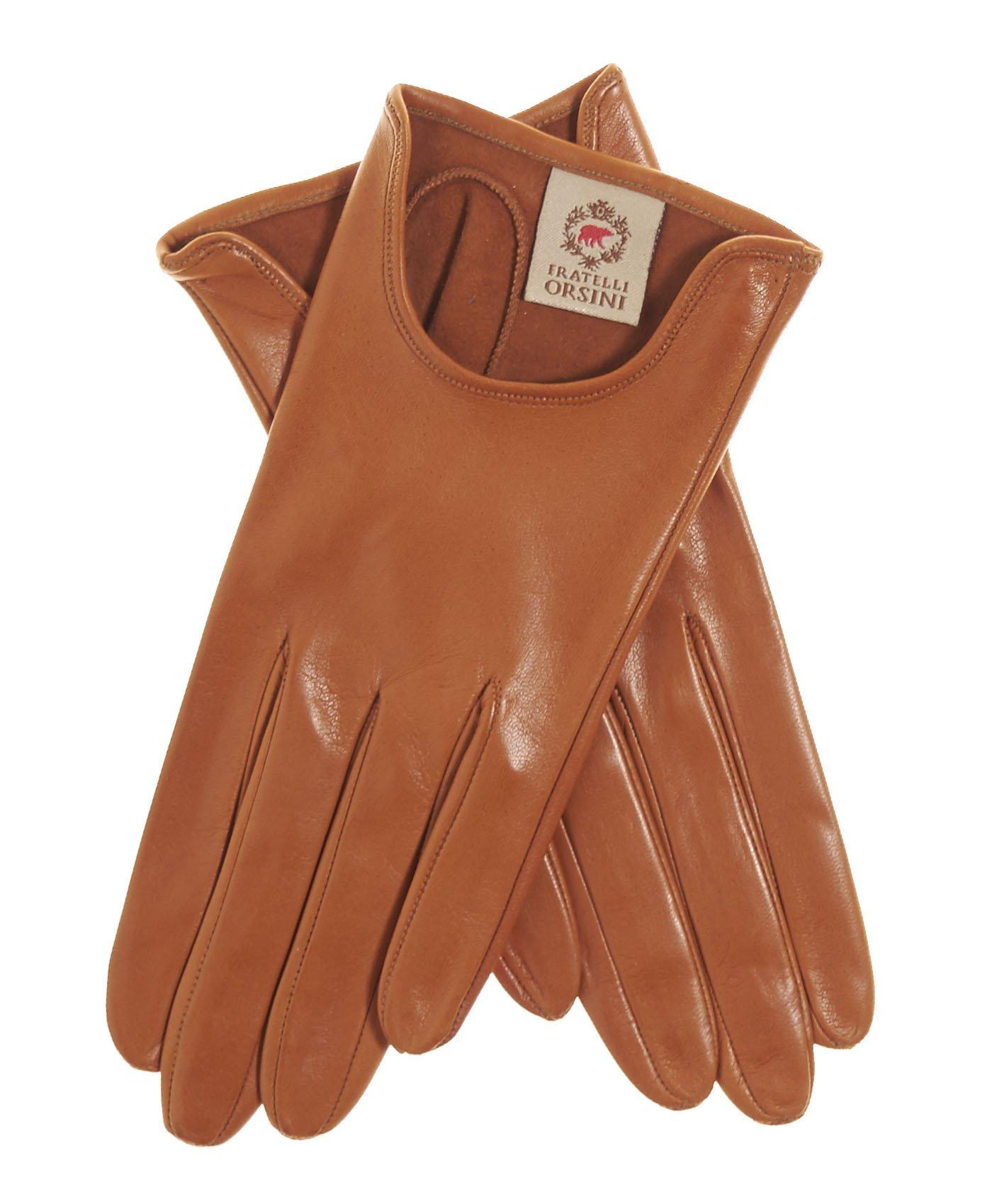 Fratelli Orsini Women's Short Unlined Italian Leather Gloves Size 7 Color Cognac