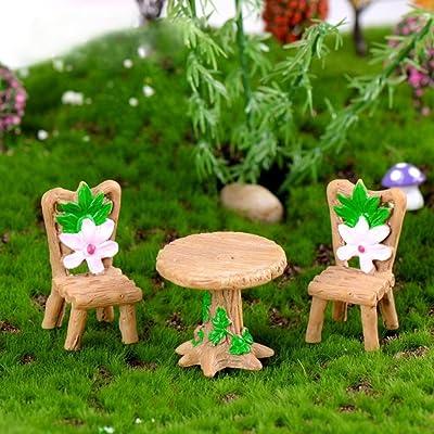 N/ hfjeigbeujfg Miniature Fairy Garden Mini Lovely Table Chairs Set Resin Crafts Miniature Landscape Ornaments Decor: Garden & Outdoor