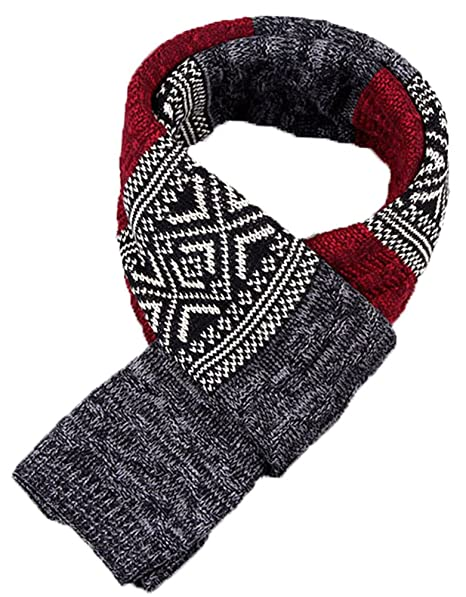 X F Men s Fashion Patchwork Warm Knitted Scarf Boys Thick Long Wrap Scarves  Black and Red 47ff11152785