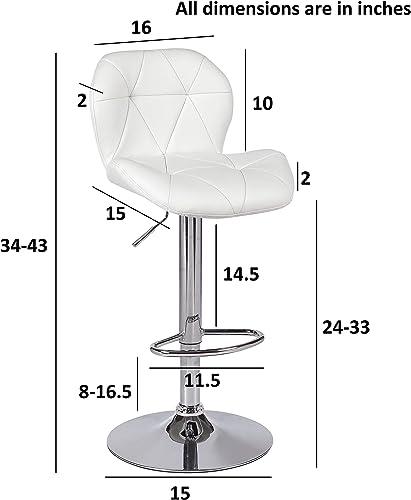 ViscoLogic Dream 2 Swivel Leatherette Adjustable Hydraulic Bar Stool, Set of 2 White