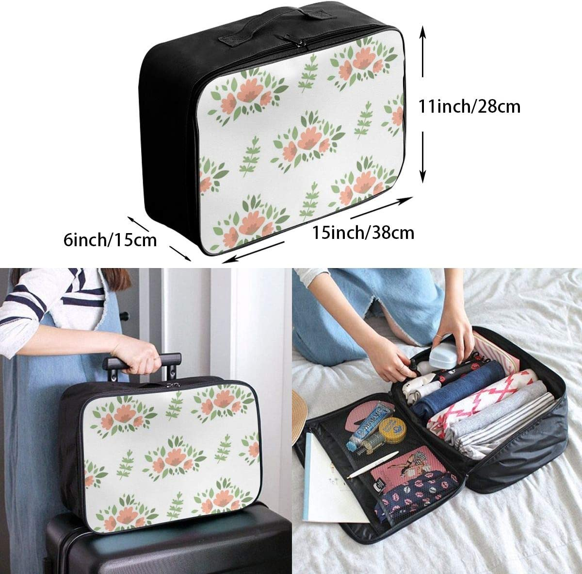 Yunshm Doodle Style With Flowers Personalized Trolley Handbag Waterproof Unisex Large Capacity For Business Travel Storage