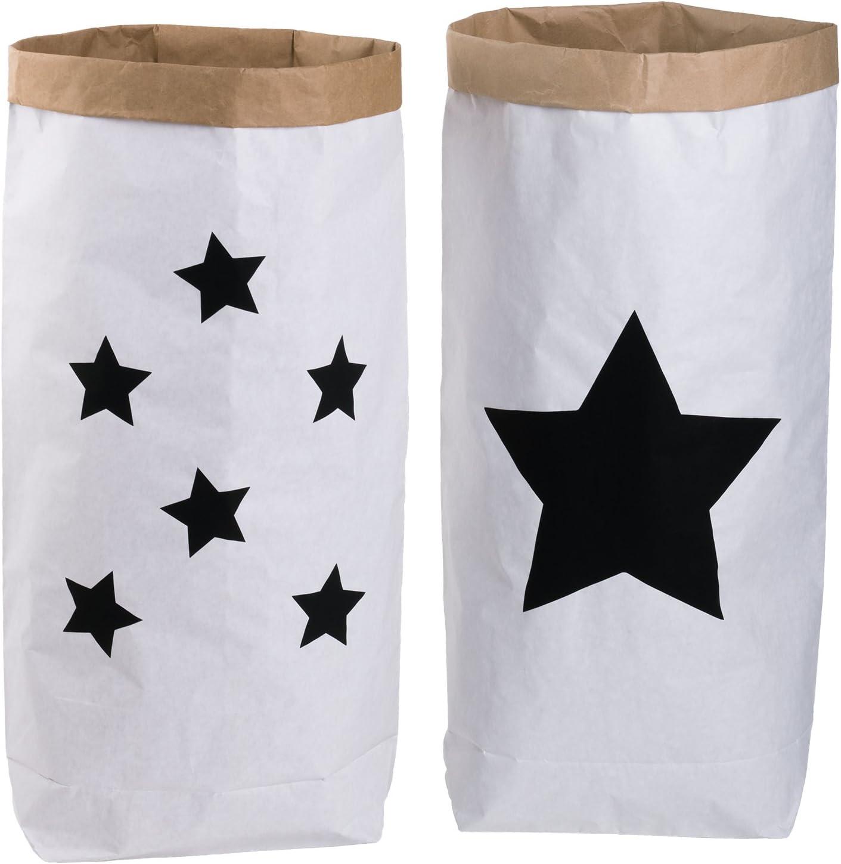 2er Pack Papiersack rund Paper Bag Kraftpapier Beutel M/ülleimer Braun Wei/ß papier /& plastik
