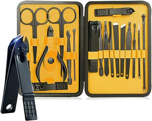 Juego de manicura, Bihuo Juego de pedicura profesional de acero inoxidable 18 en 1 Tijeras de uñas Kit de aseo personal - Kit de herramientas de pedicura/manicura de uñas de viaje portátil