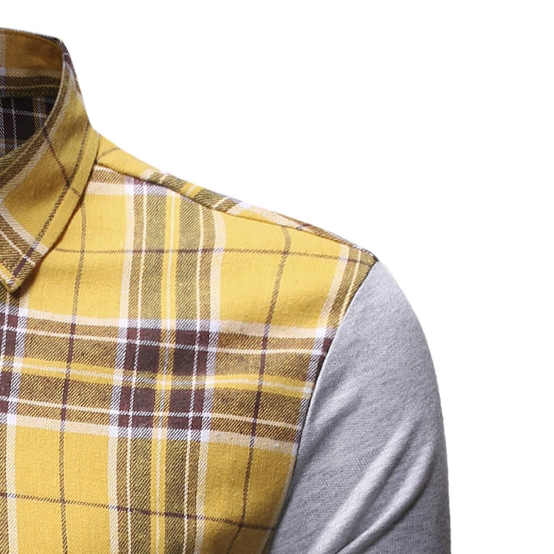 SportsX Mens Plaid Patched Britain Turn Down Collar Tshirt Shirt