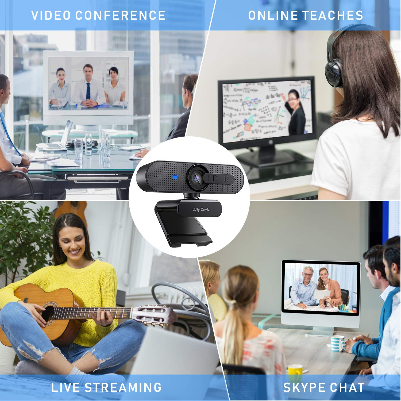 Nero Chat Video e Registrazione Microfono Stereo con videocamera Web autofocus per Computer Jelly Comb Webcam 1080P HD con copriobiettivo Skype