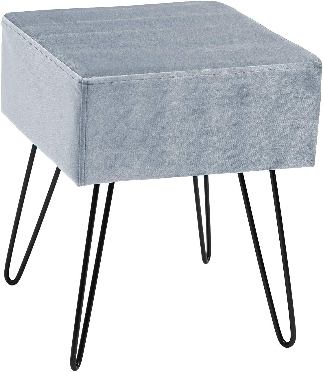 Sorbus Velvet Footrest Stool, Square Mid-Century Modern Luxe Velvet Ottoman, Footstool Side Table, Removable Metal Leg Design Gray