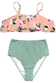 cc3fac02a42 Amazon.com: CUPSHE Women's Peach White Polka Dot Bikini Set Ruffled ...
