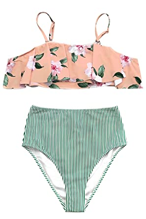673e76c74e CUPSHE Women s Pink Floral and Green Striped High Waisted Falbala Bikini  X-Small