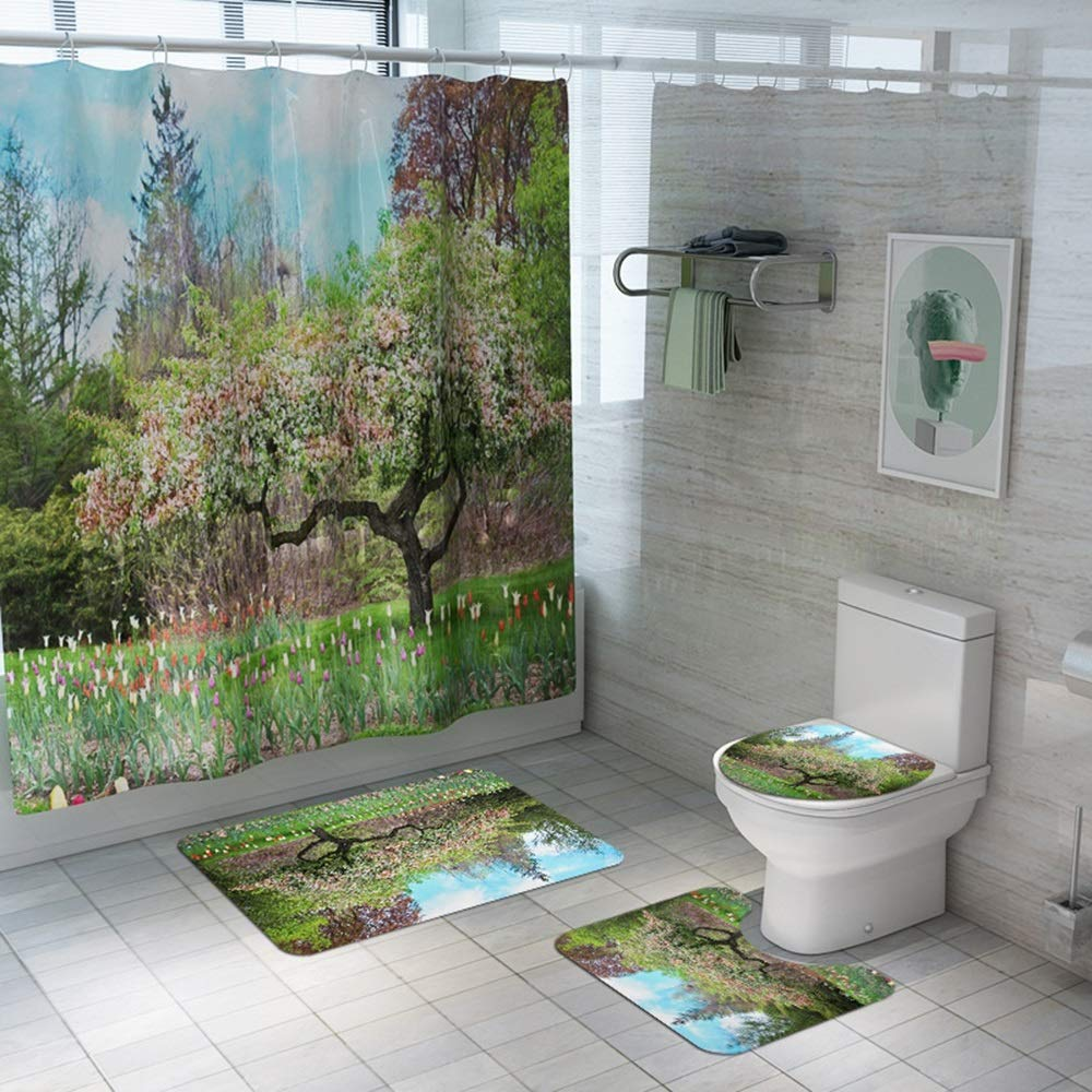 ETH Tree Flower Garden Scenery Shower Curtain Floor Mat Bathroom Toilet Seat Four-Piece Carpet Water Absorption Does Not Fade Versatile Comfortable Bathroom Mat Can Be Machine Washed Durable by ETH