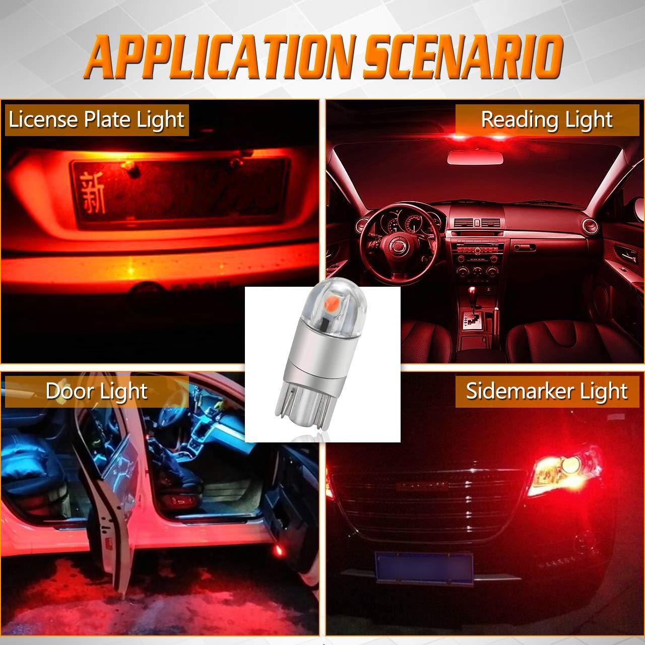 TUINCYN T10 194 168 Ampoule LED rouge tr/ès brillante 2825 W5W 175 158 Socket 2SMD 3030 Chipsets Carte de d/ôme d/éclairage int/érieur de voiture