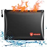 Fireproof Document Bags, 14x10 Inches Waterproof and Fireproof Money Bag, Fireproof Safe Storage Pouch with Zipper for…