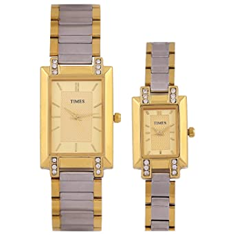 d28d2ba40 Times Analog Quartz Rectangle Gold Dial Multi Color Band Couple Wrist Pair  Wedding Gift Watch for