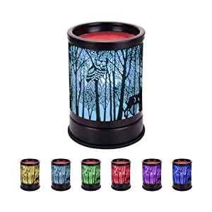 COKI Electric Candle Warmer, Black Metal Forest Tart Burner with 7 Color Changing Night Light, Wax Melt Warmer for Home Office Bedroom, Aroma Decorative Lamp for Gifts & Decor (forest) (Pattern 3)