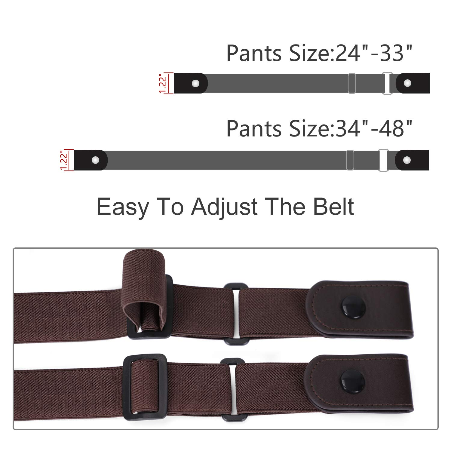 Nickle Free Metal Free Women No Buckle Invisible Stretch Belt For Jeans, Coffee, Large(Pants Size 34-48 Inches)