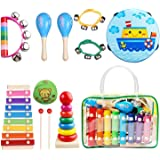 Kids Musical Instruments Set 8 Types 14pcs Wooden Percussion Instruments Toy for Toddlers Educational Musical Games…