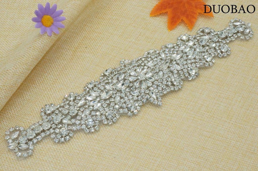 DUOBAO Rhinestone-Sash-Belt Wedding Pearl Sash Rhinestone Bead Applique Bridal Jeweled Sash Sequin Wedding Belt Wedding Sash Bridal Belts by DUOBAO