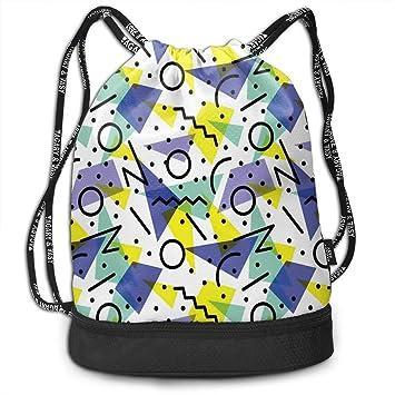 Juziwen Geometric Retro 80s Themed Yoga Drawstring Bag ...