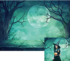 Allenjoy 7x5ft Halloween Backdrop Misty Creepy Forest Full Moon Photography Background for Children Kids Portrait Magic Witch Wizard Sorcerer Ghost Themed Party Decor Banner Photoshoot Booth Props
