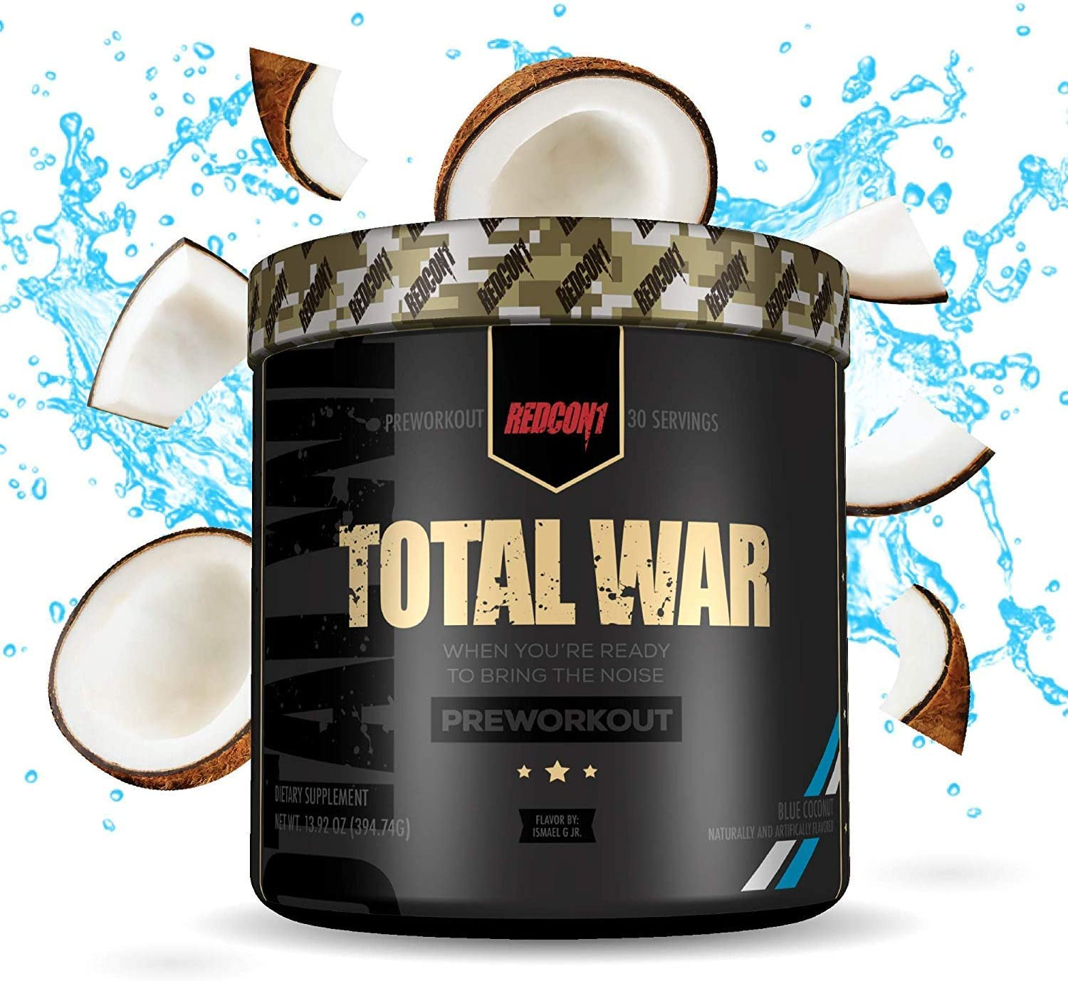 Redcon1 Total War - Pre Workout, 30 Servings, Boost Energy, Increase Endurance and Focus, Beta-Alanine, Caffeine (Blue Coconut)