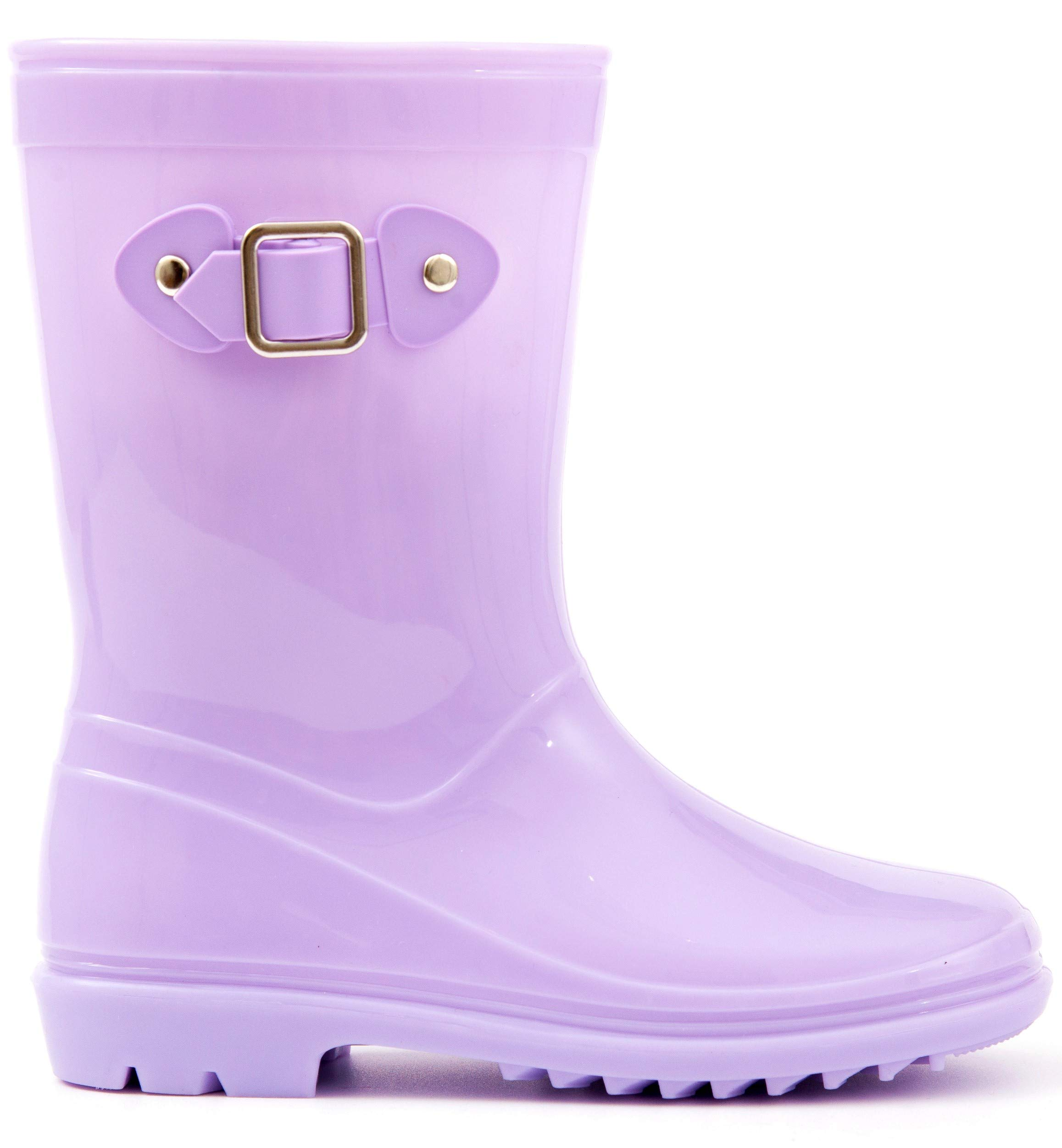 MOFEVER Toddler Girls Kids Rain Boots Waterproof Shoes Lightweight Solid Cute Lovely Funny with Buckle Classic Comfortable (Size 10,Purple)