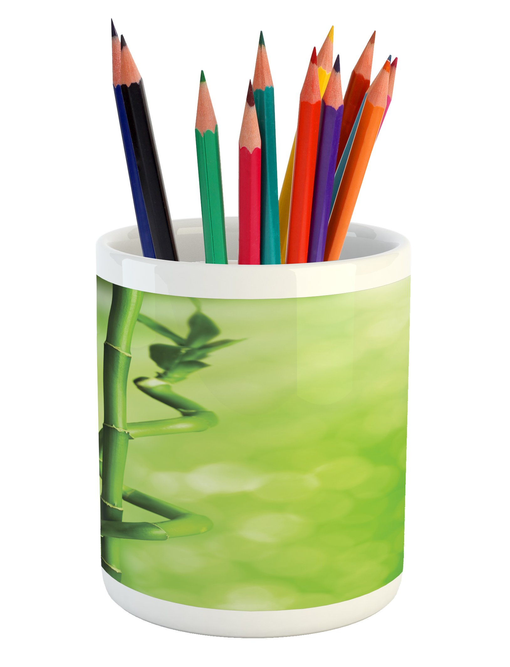 Lunarable Green Pencil Pen Holder, Bamboo Stems Nature Ecology Sunbeams Soft Spring Scenic Spa Health Relaxation, Printed Ceramic Pencil Pen Holder for Desk Office Accessory, Green Pale Green