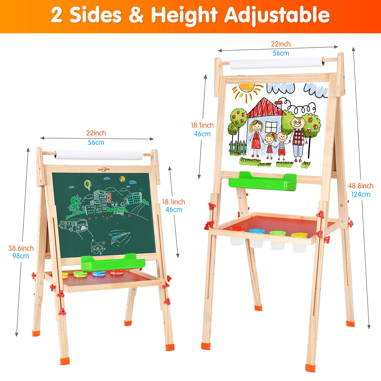 BATTOP Two-sided Height Adjustable Drawing Easel Folding Blackboard with Magnetic Alphabets and Numbers