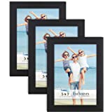 Icona Bay 5x7 Picture Frames (Black, 3 Pack), Sturdy Wood Composite Photo Frames 5 x 7, Sleek Design, Table Top or Wall Mount