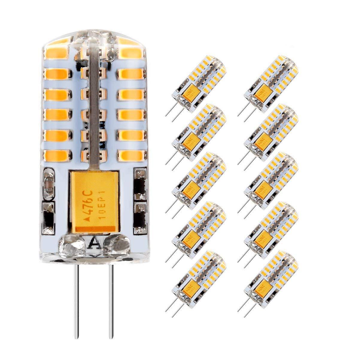 AveyLum 2.5W G4 LED Lampen Warmweiß , Ersatz fü r 20W Halogenlampen, 180lm, 3000K, 2835 SMD Kieselgel LED Dekorative Kronleuchter Beleuchtung, LED Birnen, LED Leuchtmittel, AC/DC 12V, 10er Pack