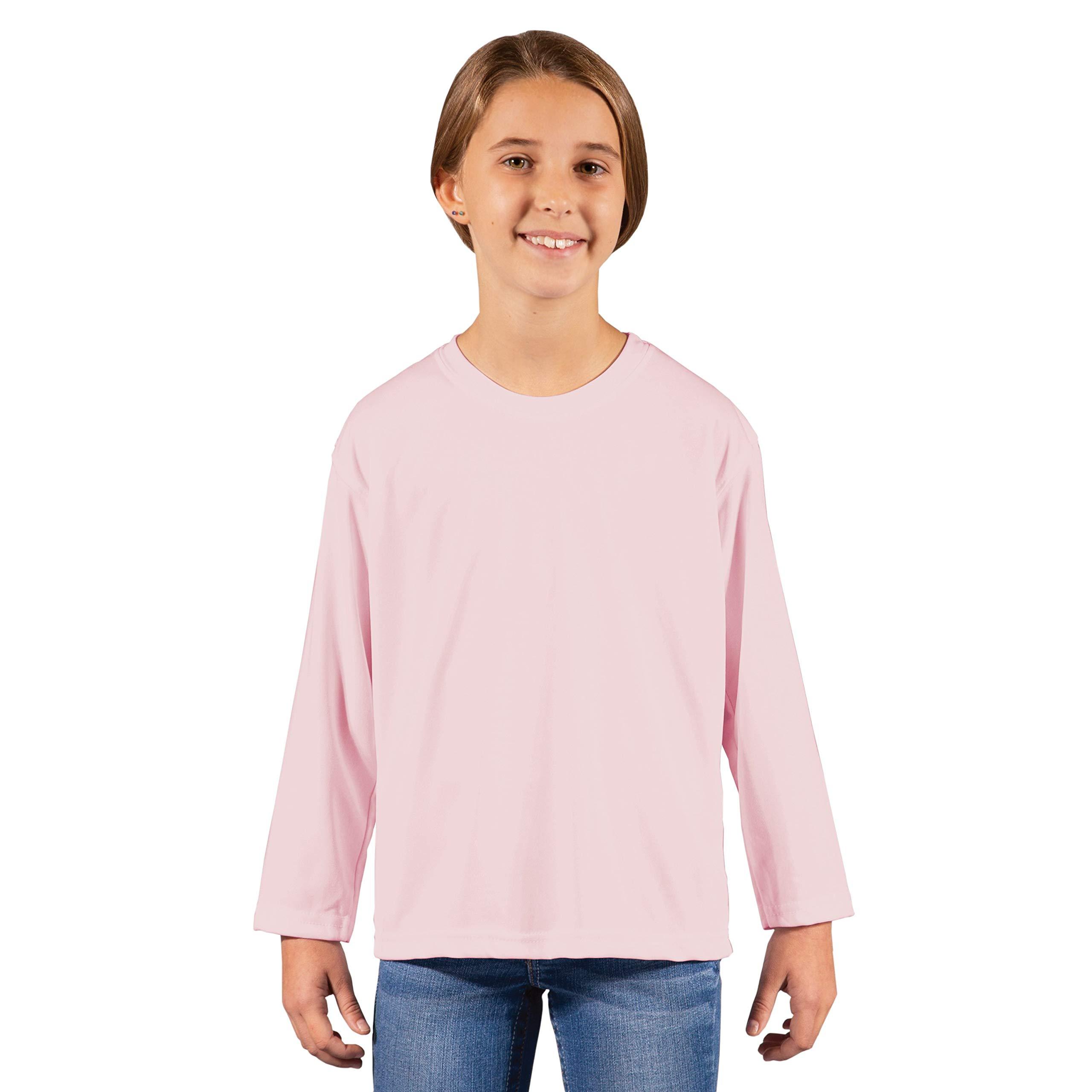 Vapor Apparel Youth UPF 50+ UV Sun Protection Performance Long Sleeve T-Shirt Medium Pink Blossom