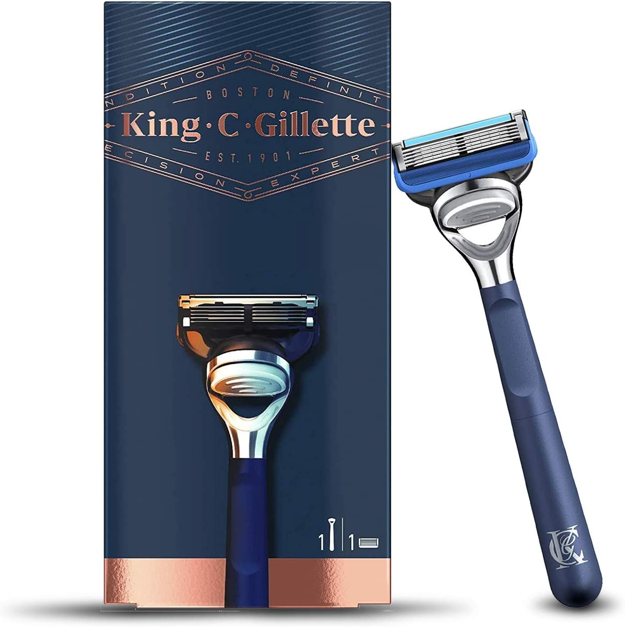 King C. Gillette Shave and Edging Razor for Men, 5 Premium Blades with Precision Trimmer, Gift Set Ideas for Him/Dad