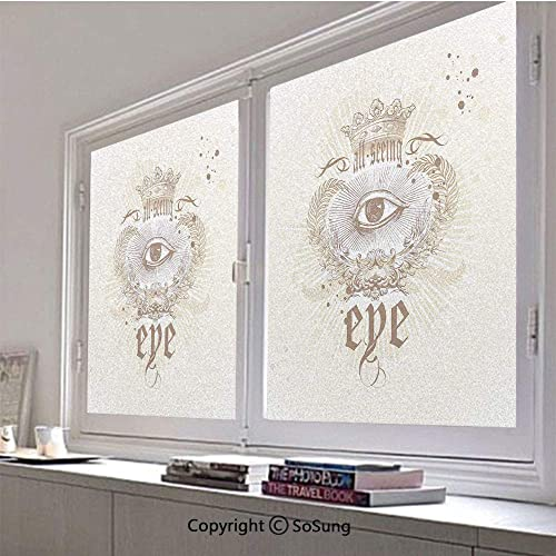 30×48 inch Decorative Static Cling Frosted Privacy Window Film,Artistic Vintage Emblem Eye Victorian Laurel Branches Crown Calligraphy Decorative Glass film for Window Glass Panels,UV Protection,Energ