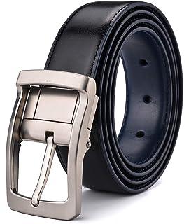 71eee5f8d053 Xhtang Ceinture réversible pour homme en cuir ceinture en noire mode  ceinture chic le costume et