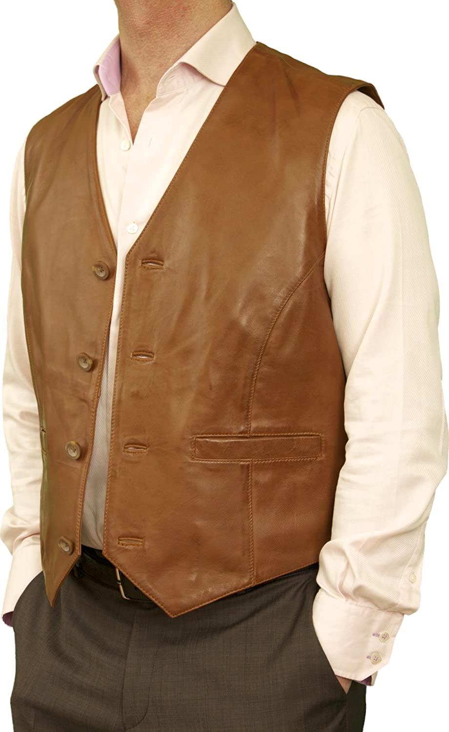 Ashwood Mens Smart Superior Luxury Soft Genuine Real Leather Waistcoat