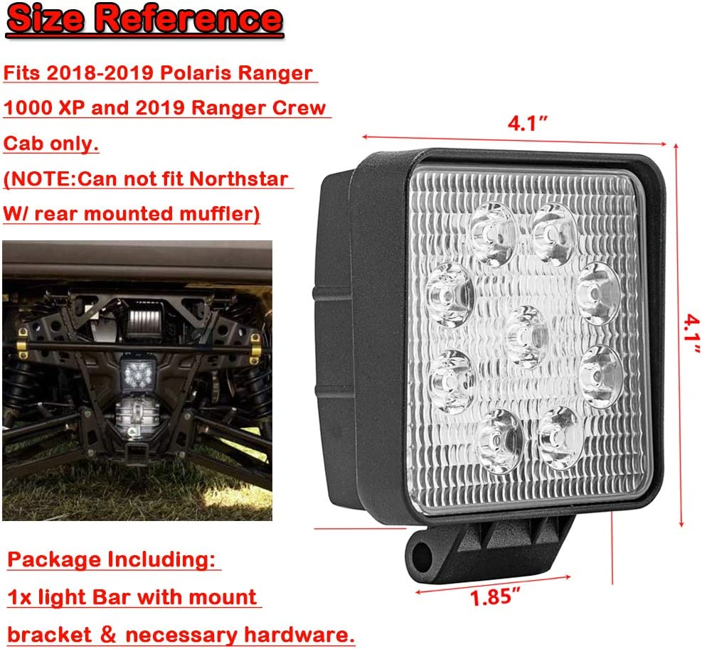 No Drill Dasen Below Cargo Bed 27W Plug N Play Rear LED Light Bar Kit w//Back-up Brackets Hardware For Polaris Ranger Crew 1000 XP 2018-2019