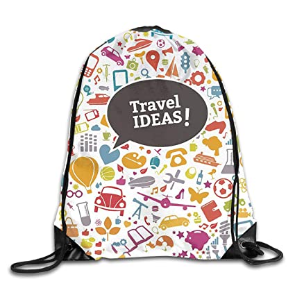 52ce99eef2 Amazon.com  Yuzioz Travel Around The World Gym Sack Bag Drawstring ...