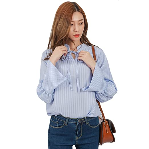 fdbdca01e08d1c Image Unavailable. Image not available for. Color  HARRA Womens Ruffle  Blouses Dressy Blue Striped v Neck ...