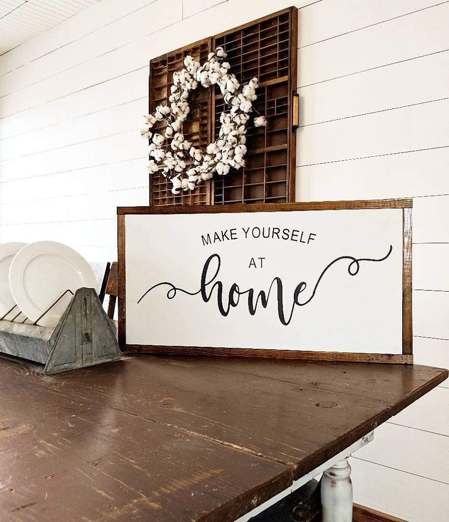 RDse5s5 Make Yourself at Home Guest Bedroom Sign Home Sign Welcome Sign Wood Sign Christmas Thanksgiving Halloween