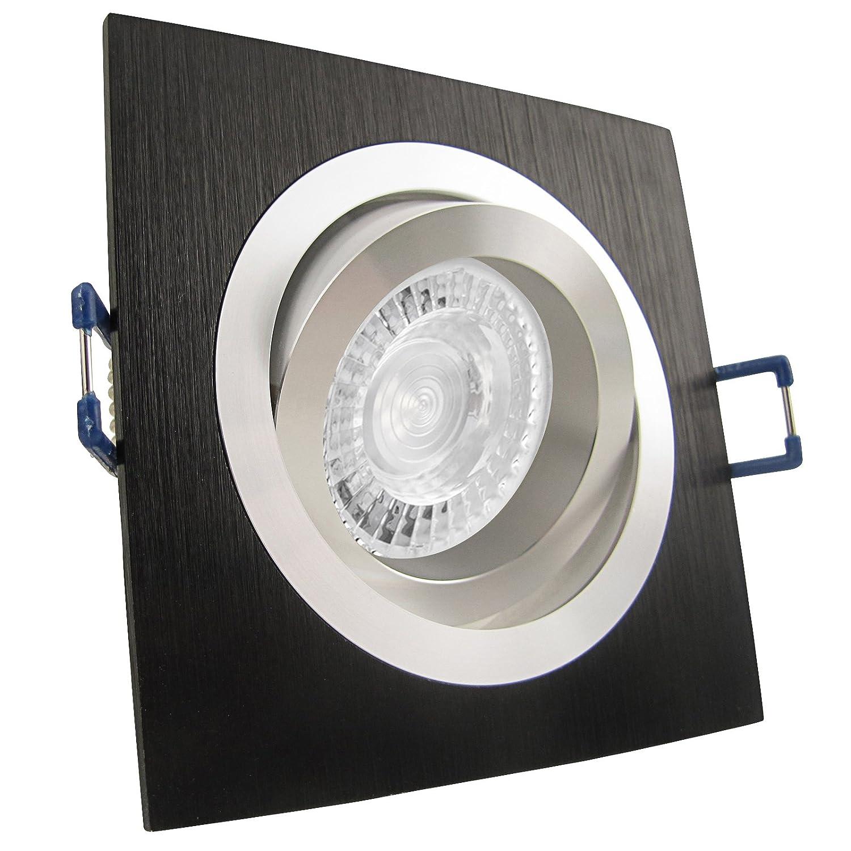 3er Set LED Warm-W. 3er Set (3-8er Sets) Einbaustrahler NOBLE S1 Schwarz Aluminium; 230V GU10; SMD LED 7,5W = 70W; DIMMBAR; Warm-Weiß; schwenkbar; drehbar; Einbauleuchte Einbauspot Downlight
