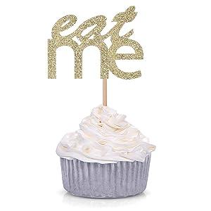 24 Gold Glitter Eat Me Cupcake Toppers Baby Shower Alice in Wonderland Wedding Dessert Decorations