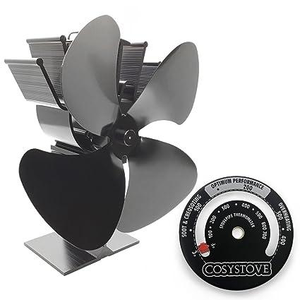 COSYSTOVE 4 hoja ventilador de estufa de leña Plus magnético Tubería para chimenea termómetro
